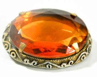 1970s Large Edwardian Oval Faceted Topaz Amber Center Cut Glass Stone Gold Tone Retro Victorian Inspired Vintage Brooch Pin