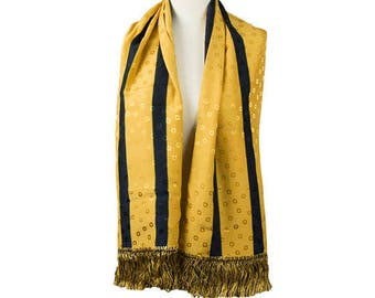 1980s 1990s DKNY Women's Golden Yellow with Black Striped Oblong Double Sided Silk Fringe Vintage Foulard Scarf