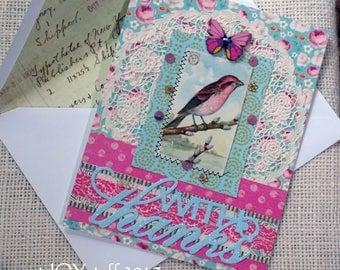 WITH THANKS - original vintage bird picture - Boho chic - blank greeting card - NO056