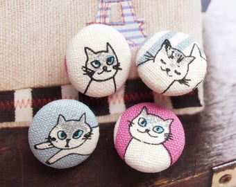 Kawaii Japanese Kimono Blue Eyes Kitty Cat Cats-Handmade Fabric Covered Buttons(0.75 Inches, 4PCS)