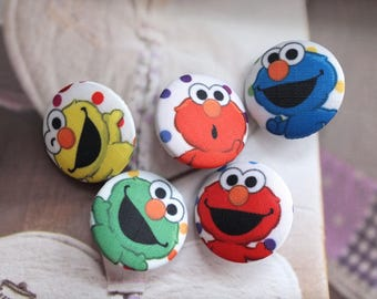 Lovely Colorful Seasame Street Elmo Cartoon Character Friends - Handmade Fabric Covered Buttons(1.1 Inches, 5PCS)