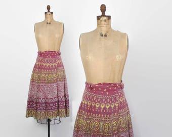 Vintage 70s Indian SKIRT / 1970s Ethnic India Cotton Batik High Waisted Bohemian Wrap Midi