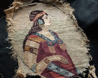 Antique Needlepoint in Silk Jewish Woman in Traditional Costume