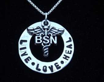 BSN Live Love Heal necklace, BSN Nurse graduation gift, Gift for BSN, Gift for nursing student, Nurse necklace, gift for nurse, gift for her