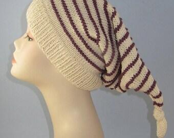 40% OFF SALE Instant Digital File PDF Download Knitting Pattern - Stripe Topknot Pixie Hat