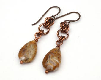 """Stone teardrop earrings, Niobium French hooks, brown and white brioche agate beads, twisted rings, 1 3/4"""" long"""