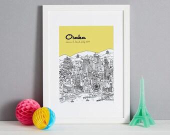 Gepersonaliseerd Osaka Print | Unieke huwelijksgeschenk | Huis opwarming van de aarde Gift | Eerste verjaardag cadeau | Valentines Day Gift | Aangepaste overeenkomstengift
