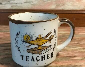 Christmas Sale Vintage 1970s TEACHER Mug Stoneware Appreciation