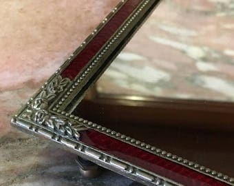 Christmas Sale Vintage Red Mirrored Dresser Tray Silver Tone, Enamel, Footed Mirror