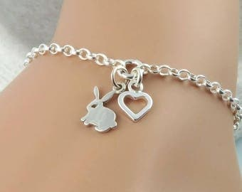 Bunny Bracelet - Sterling Silver Rabbit and Heart Bracelet - bunny lover jewelry