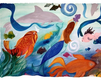 Mermaid and tropical fish beach picnic or throw blanket from my original art.