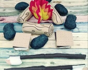 Felt Campfire - photography prop - pretend campfire - pretend play - camping - Bonfire - felt food - toy fire - play set for two