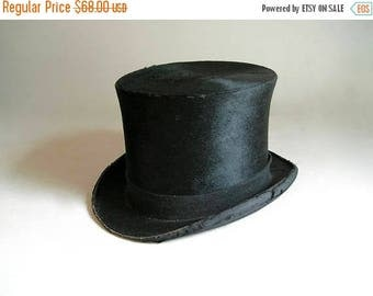 Antique Beaver Silk Black Top Hat  Henry Heath from 1871 to 1911 era