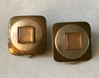 Marjorie Baer Silver and Bronze Clip-On Earrings ~ San Francisco ~ 1991