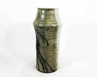 Vintage Stoneware Pottery Vase in Grey Earth Tones. Circa 1960's 1970's.