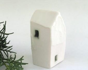 hand built porcelain house  ...   minimalist modern   ...  tiny ceramic house
