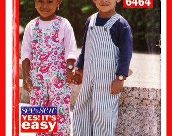 Toddlers Boys or Girls Overalls, Jumpsuit and shirt Size 1 -3, Butterick 6464