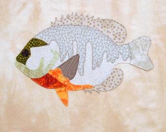 Appliqued Blue Gill Fish Quilt Block