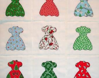 Christmas Party Dresses Appliqued Quilt Blocks