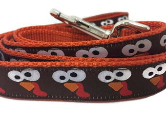 Dog Leash, Turkey Faces, 1 inch wide, 1 foot, 4 foot, or 6 foot