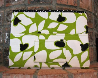 Green and Black Magazine & Tract Bag, Tablet Sleeve, With Contact Card Pocket