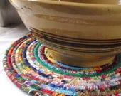 CUSTOM ORDER for HOLLI - Three Bohemian Coiled Multicolored Mat, Chair Pad, Hot Pad, Trivet - 12 Inch Round - Handmade by Me