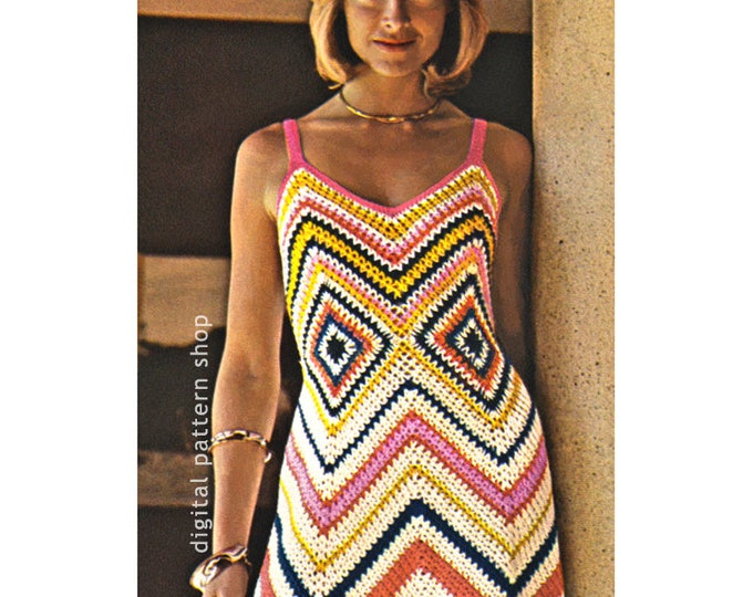 Chevron Maxi Dress Crochet Pattern Zig Zag Dress PDF Instant Download