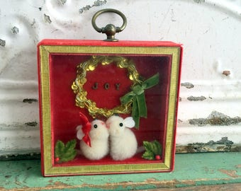 Vintage Christmas Shadow Box Diorama Bunnies Rabbits Joy Wreath Wall Hanging