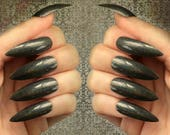 Black Holo Press On Nails | Coffin, Stiletto, Almond Nails | Extra Long or Short Fake Nails | Black Holographic Nails | Black Acrylic Nails