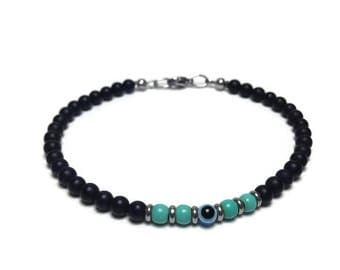 Men's  evil eye onyx and turquoise beads bracelet - stainless steel - protection - Greek jewelry -