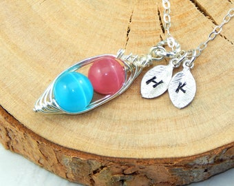 Pink And Blue Two Peas In A Pod Silver Necklace,Pink and Blue Cats Eye,Mothers Necklace,Sisters Necklace,Friendship Necklace,Initial Pea Pod