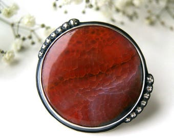 RESERVED - Dragon Fire - Agate Sterling Silver Ring