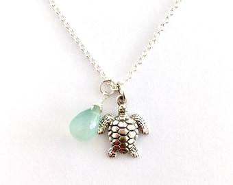 Sterling Silver Turtle Green Chalcedony Pendant. Sea Turtle Pendant.
