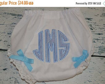 ON SALE Custom Circle Monogram Bloomers Diaper Cover