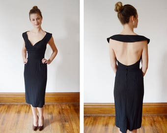 1950s Black Fitted Halter Dress - XS