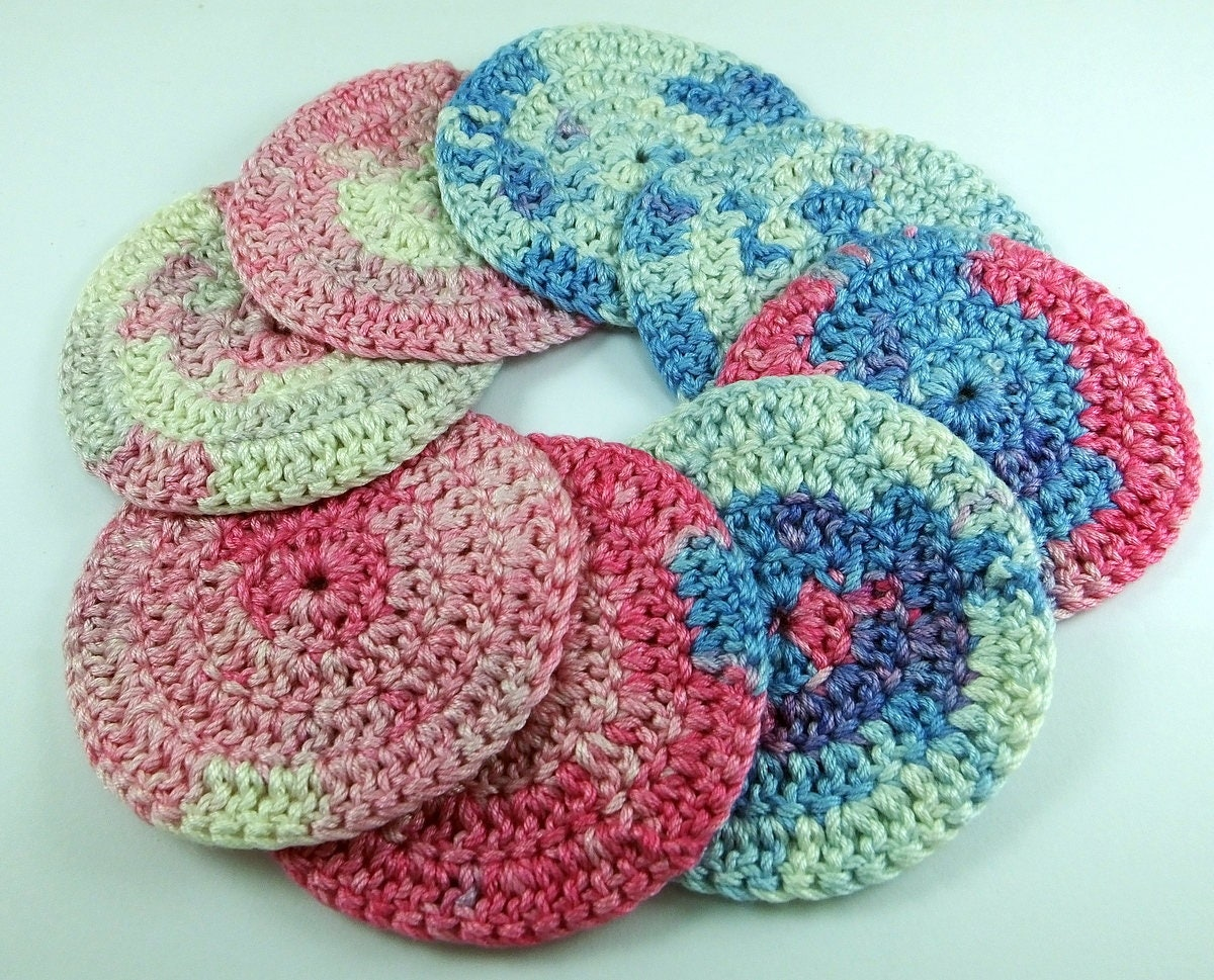 8 psc ,Reusable Organic Cotton Rounds ,Crochet Face Scrubbies ...