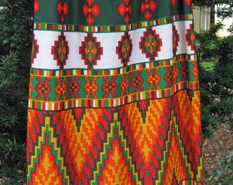 FELIZ NAVIDAD Medium or Small Aztec Mayan style print 1960s 60s hippie skirt, Bold vibrant print in Orange, green, white yellow and clay red