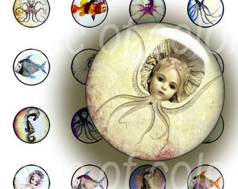 Dolls from the Sea  - 315  8 mm Circle JPG images - Digital  Collage Sheet