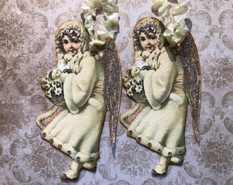 Angel tags, set of 2, extra large, with crystal rhinestones and glitter, SET 2