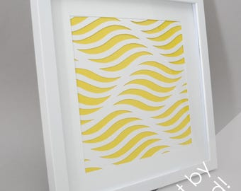 geometric waves- PAPER CUTTING - handmade art, Paper cut art, waves, water, unique wall art, square, framed paper cut, white paper, abstract