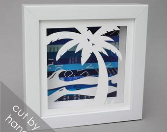 small PALM tree shadowbox- made from recycled magazines,beach,summer, waves, blue,teal, sun, beach house, wall decor, decoration, water, fun