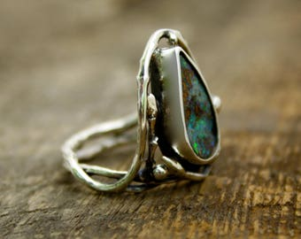 Boulder Opal Branch band, opal sparkle, woodland ring, birch ring, tree ring, tree of life, rustic jewelry, opal ring, australian opal