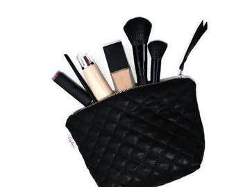Cosmetics Bag, Black Faux Leather, Jewelry Case, Small Clutch, Makeup Bag, Phone Case, Sunglass Case