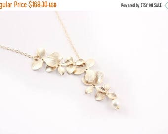 ON SALE Bridesmaid Jewelry Set of 6 Double Orchid Gold Wedding Necklaces