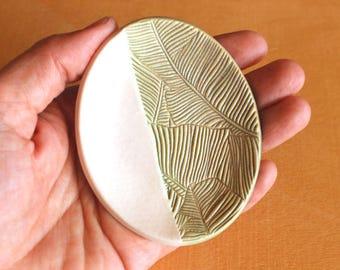 Ceramic BANANA LEAF Ring Dish - Handmade Small Oval Porcelain Banana Leaf Ring Dish - Tea Bag Dish - Ready To Ship
