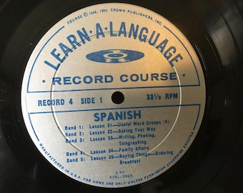 """Learn Spanish Vinyl Record & Manual ~ Learn A Language Conversational Spanish Course S4 ~ 1956 33 1/3 RPM 10"""" The Toledo Blade ~ Homeschool"""