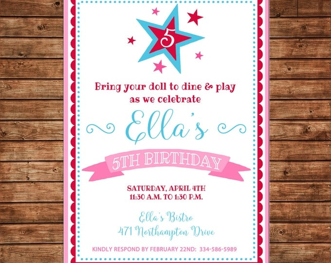 Doll Girl Store Star Red Pink Blue Bistro Birthday Party Invitation - DIGITAL FILE