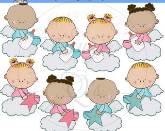 Sweet Angel Babies EXCLUSIVE Clipart Collection - Immediate Download