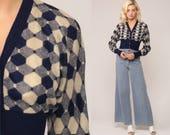 Cropped Cardigan 70s Sweater DIANE VON FURSTENBERG Dvf Knit Boho Crop Vintage Retro 1970s Blue Op Art Bohemian Geometric Small