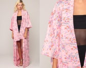 Floral Kimono Robe Jacket Maxi 90s Bohemian Lingerie Japanese Dressing Gown Pink Long Wrap Vintage 80s Boho Hippie Extra Large xl